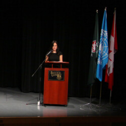 "2014 – Keynote Speaker for the ""United Nations Model Conference"" for  Toronto High Schools held at Bayview Glen"